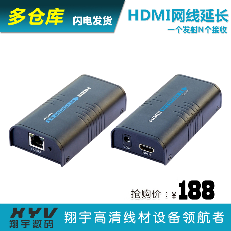 HDMI line conveyor extension converter supports local area networks, single line 100M meters, 1 send N receive