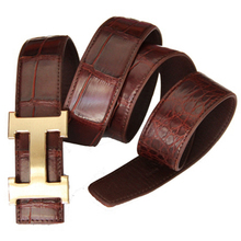 The new Thailand crocodile crocodile men belly business waistband bamboo shaped grade genuine leather belt abdomen