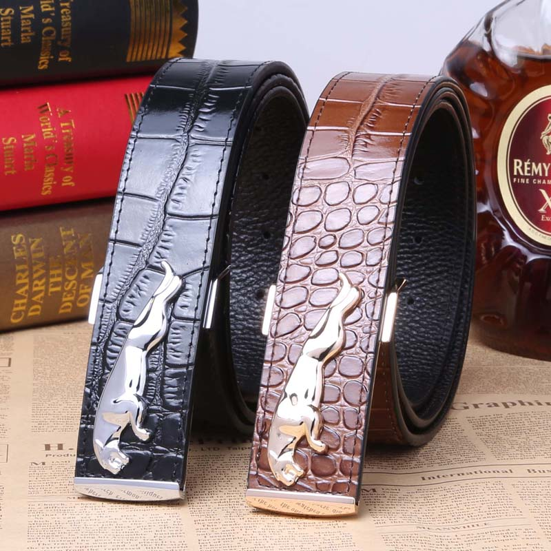 Male jaguar BaoTou leather head layer cowhide crocodile grain belt male fashion pure cowhide smooth belt buckle