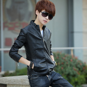 Men's leather jacket slim Korean youth spring motorcycle leather short male student handsome fashion jacket
