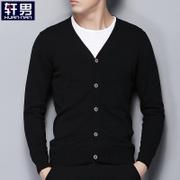 Spring and autumn Knit Cardigan Jacket Mens pure male thin sweater collar cardigan sweater slim V male tide