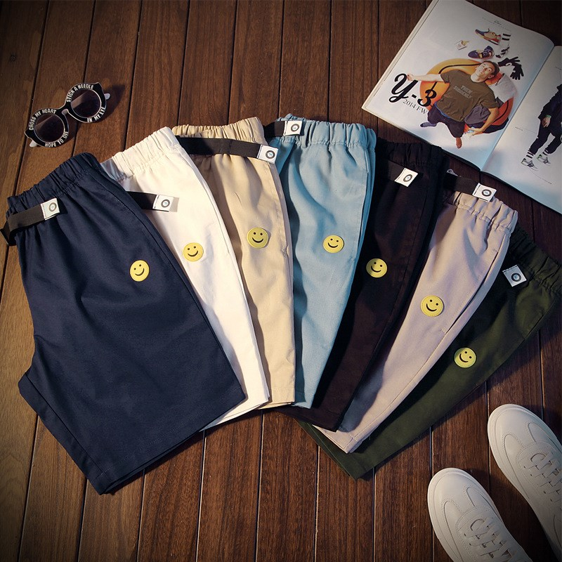 Men's summer easing campaign slacks 5 five tide beach pants pants in the han edition summer wear shorts pure color