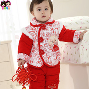 The New Year Baby Girl Costume coat coat 0-1-2 years old female baby infants and children's clothing thick winter clothes