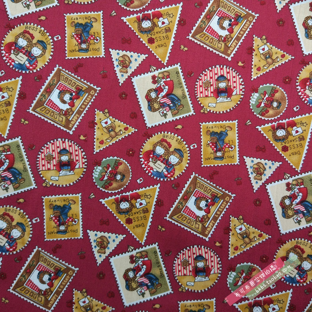 红色zakka风邮票图 平纹欧标纯棉布料全棉府绸面料花布 门幅150cm