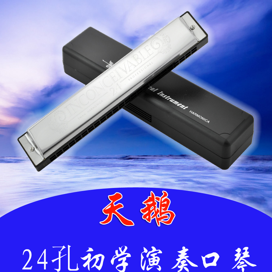 Special authentic Swan 24 hole harmonica C adult students playing polyphonic beginner children toy gift bag mail