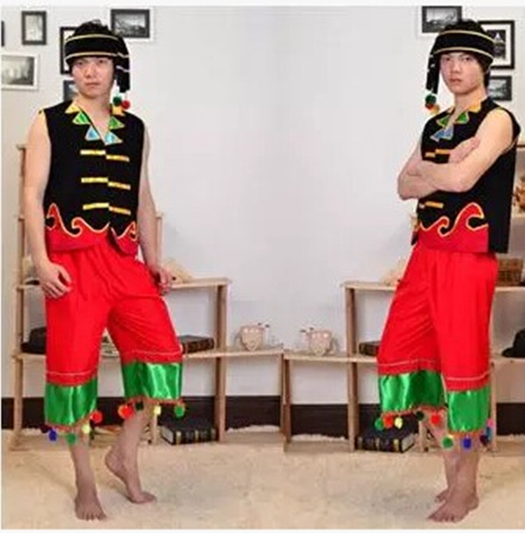 Clothing bamboo pole dance of Li nationality of Tujia, Miao and Dong clothing costume clothing suit of the Yao WA of Zhuang nationality male people