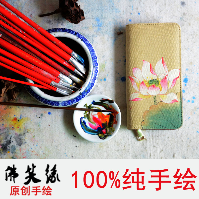 Buddha laughing margin 2015 new hand-painted women's purse wallet large zip around wallet national wind clean student wallet