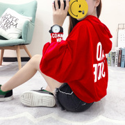 The new winter sweater girl Harajuku plus cashmere loose hooded coat long sleeved clothes printing student Lantern Sleeve