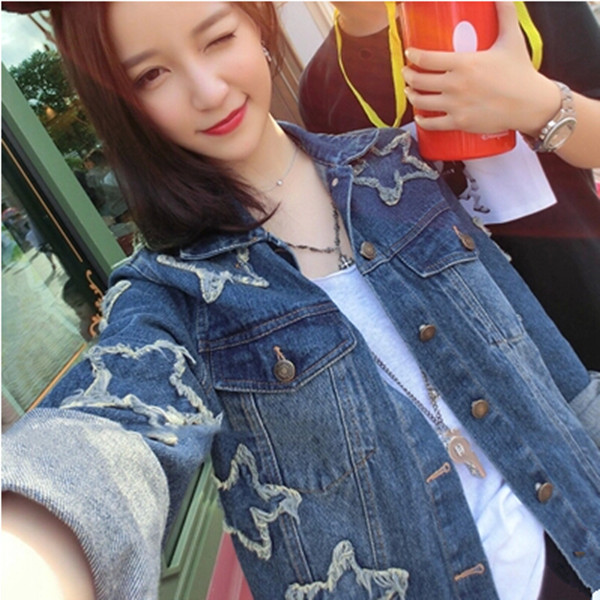 New money madam han edition joker exclusive custom fashion women's clothing blockbuster recommended stereo stars jean jacket