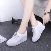 The increase in spring and autumn shoes lace new white shoes sports shoes muffin thick bottom slope documentary loafer shoes
