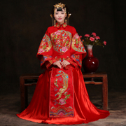 2016 new winter clothing Xiu he bride Qipao dress Wedding Toast clothing long Chinese wedding gown dragon female