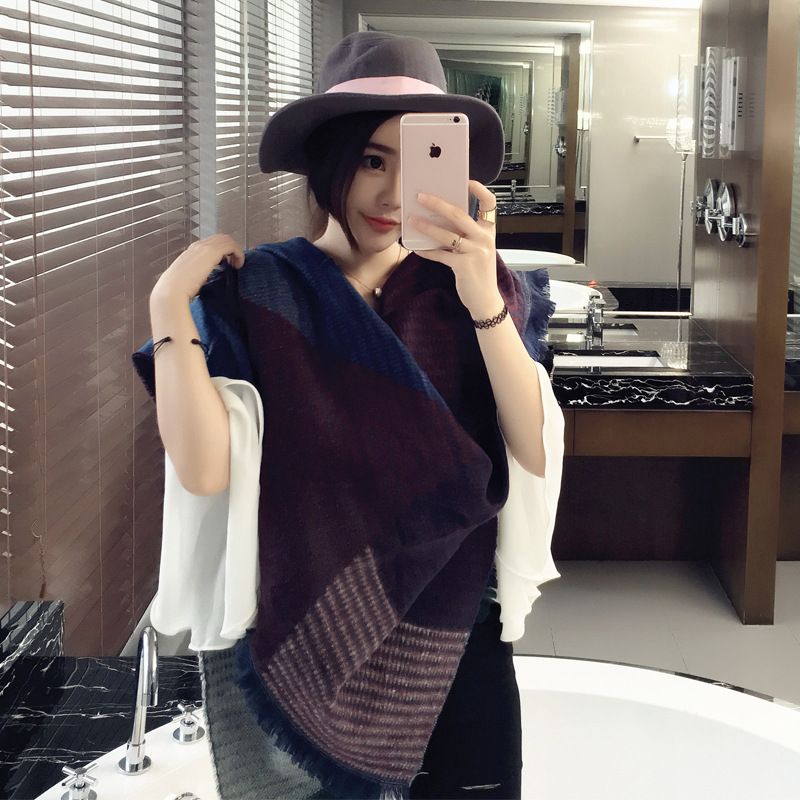 Autumn Korean fashion female cashmere wool scarf thickened winter long warm elegance all-match shawl