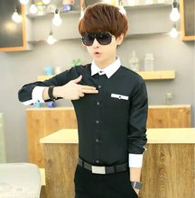 Men in shirt sleeves, solid color shirt pocket stretch slim young S small handsome shirt occupation code DP
