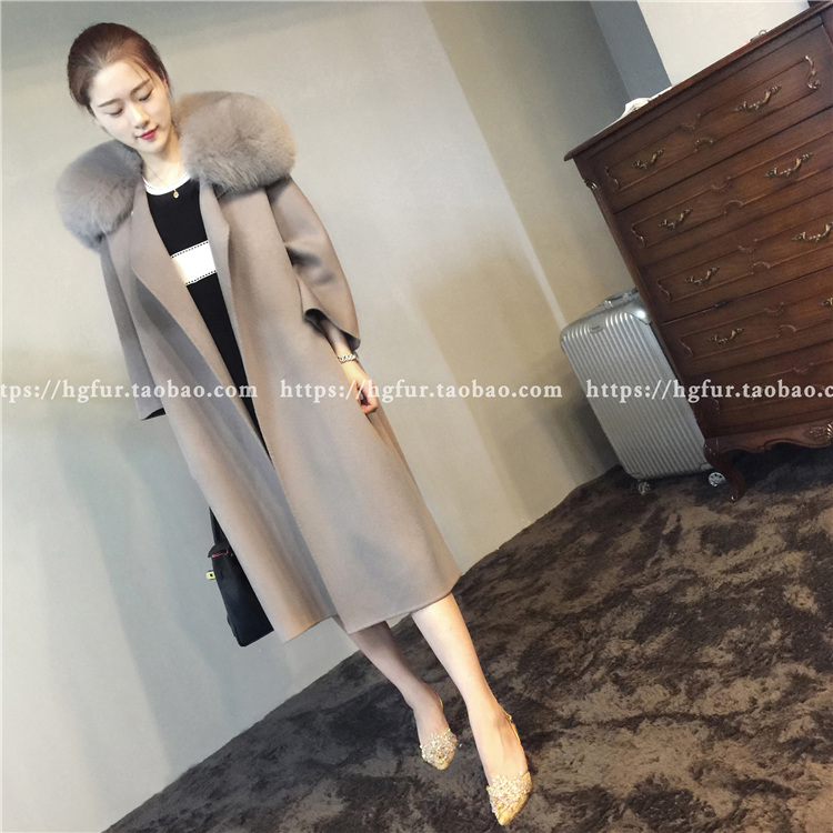 HG BLK thick loose double-faced cashmere coat women's oversized fox fur collar wool woolen cloth coat large zip around wallet