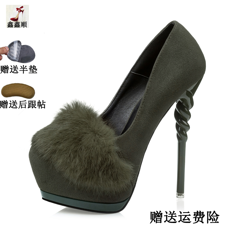 Sweet feather shoes heels summer 2017 new female temperament Korean shoes with a fine of 14 cm all-match nightclub