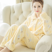 Winter pajamas female Korean lady lovely autumn thick coral fleece flannel suit Home Furnishing long sleeved cardigan