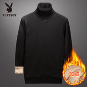 Playboy Turtleneck Sweater Men's Plus Velvet Padded Korean Knit Men's Warm Sweater Base Shirt