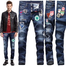 Personality badge hole patch jeans men D2 elastic Slim pants DSQ Europe youth trousers DS2 tide