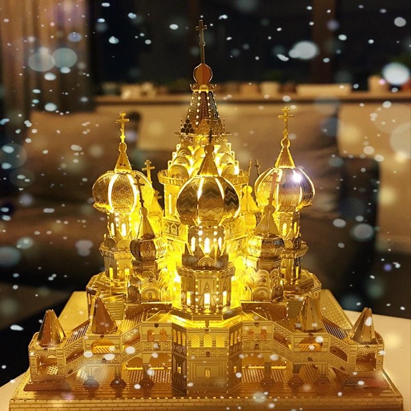 3D立体金属拼图模型巴黎圣母院瓦西里教堂天鹅堡diy拼装建筑模型