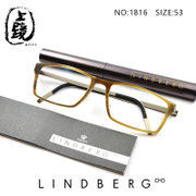 New Products Lindbergh Handmade horn pure titanium myopia plain spectacle frame man 1816 082