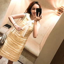 2018 new temperament small incense wind long knit sleeveless bow lattice ladies straight dress female summer