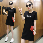 In the long summer of 2017 Korean female short sleeved T-shirt loose thin cotton split half sleeve clothes all-match students
