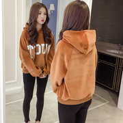 Korean winter sweater jinsirong female ulzzang loose cashmere hoodie coat with thickened BF students tide
