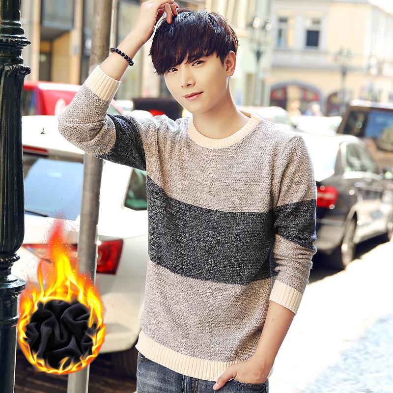 冬季男士长袖t恤 加绒加厚卫衣潮流针织毛衣打底衫男装保暖上衣服