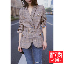 European station autumn wear women's 2018 new European goods tide long sleeve slim slimming casual plaid suit jacket female