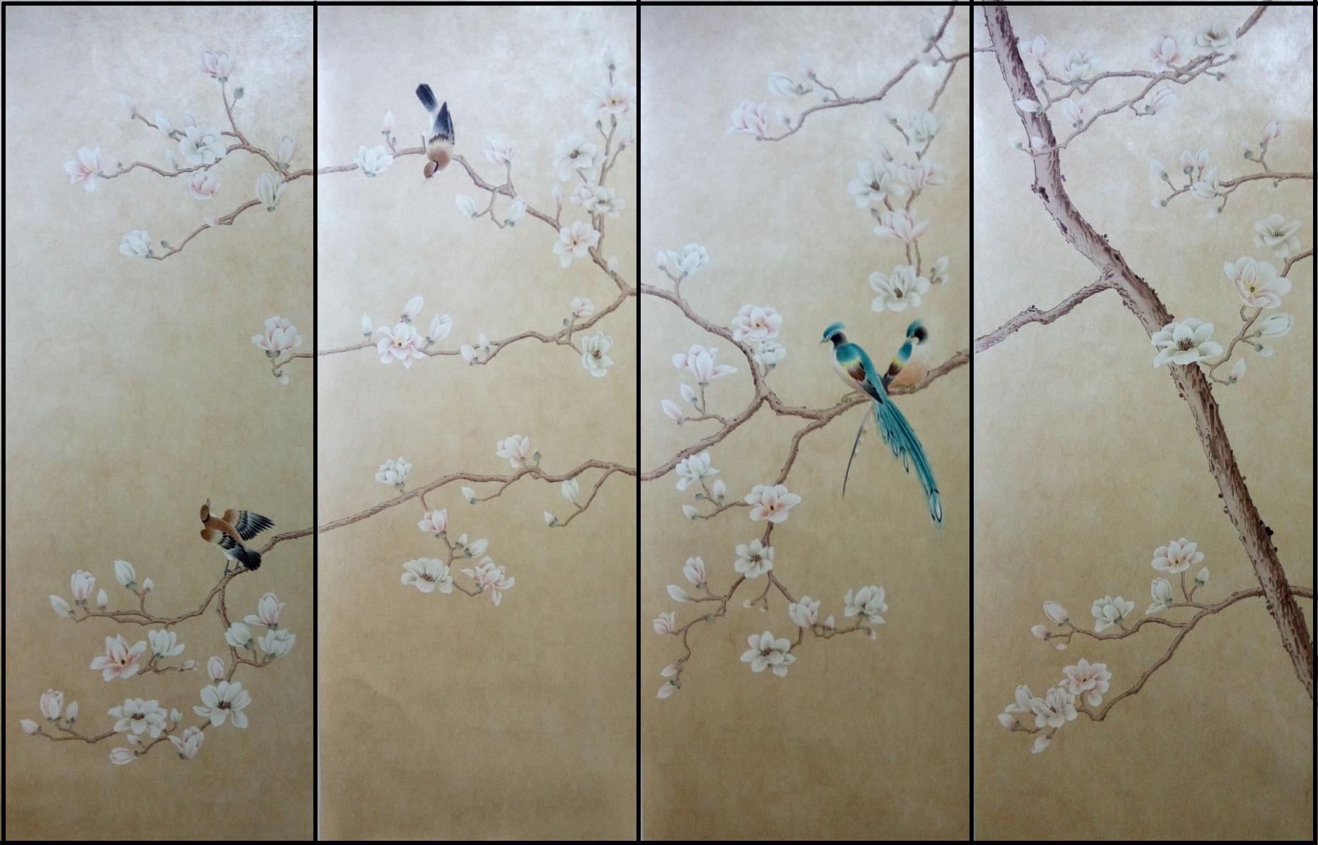 中式真丝手绘墙纸壁画 丝绸玉兰花鸟壁纸 珍珠金底纹