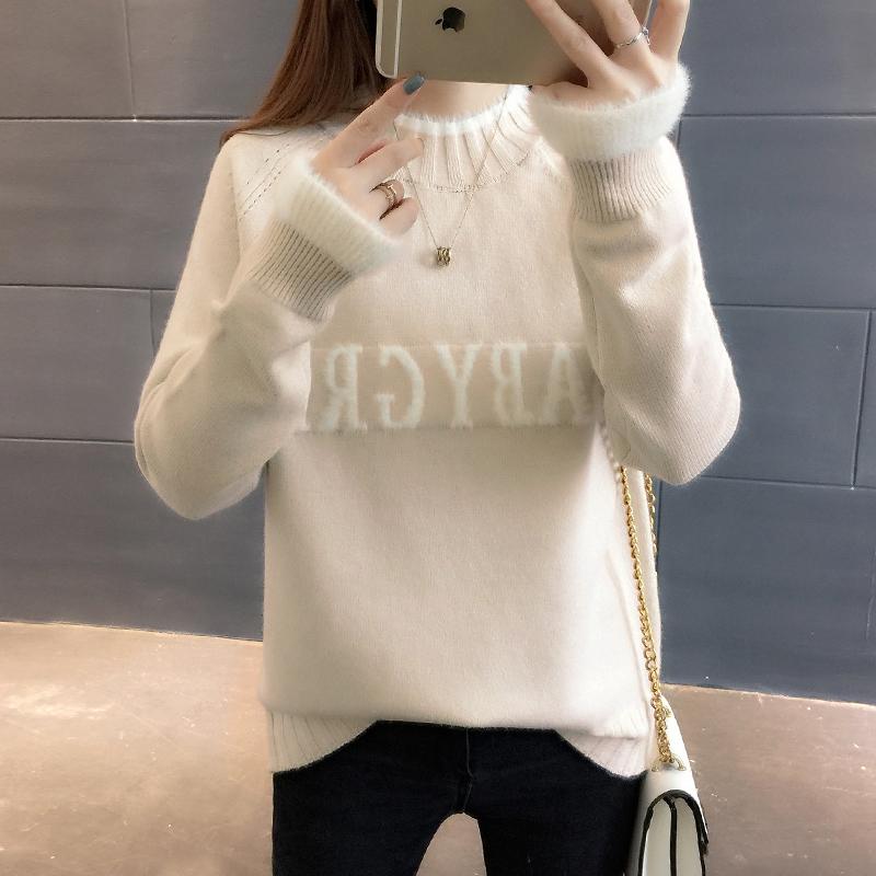 加厚半高领新款秋冬装宽松毛衣女士学生长袖韩版套头时尚打底衫潮