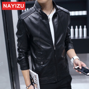 Men's leather jacket thin coat trend of Korean men in spring and autumn leisure men's youth slim leather locomotive PU