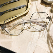Fashion trend of small round-lens glasses female Hexagon vintage Prince mirror large rims and eyes mirror frame TD
