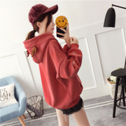 Autumn and winter coat hooded sweater cashmere with thickened loose clothes on 2017 new female Korean long sleeved autumn tide