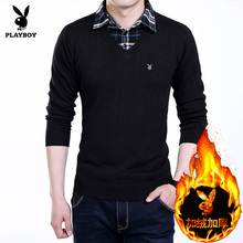 Long sleeved T-shirt male dandy in autumn and winter with pure cashmere sweaters in woolen clothes Mens two youth false