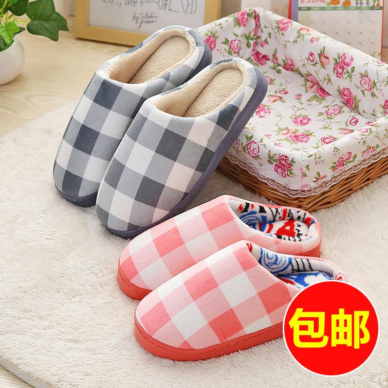 韩版棉拖鞋冬季半包保暖居家居室内条纹格子情侣毛毛拖鞋男女厚底