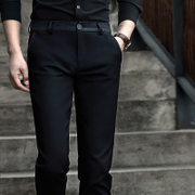 With Velvet Pants male winter thickening trend of Korean men's business casual pants slim trousers men's trousers and feet