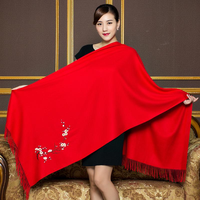 结婚仿羊绒围巾披肩两用女士秋冬季民族风百搭厚款大红色长款围脖