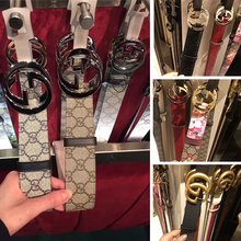 Genuine purchasing Gucci double G belt Gucci classic embossed double-sided belt retro men and women casual waist chain