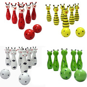 Children's cartoon animal bowling, children puzzle wooden bowling, shooting 1-3 year old toy bag