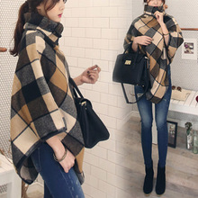 The Korean version of 2017 new autumn and winter coat Plaid cloak shawls Europe loose wool coat dress code