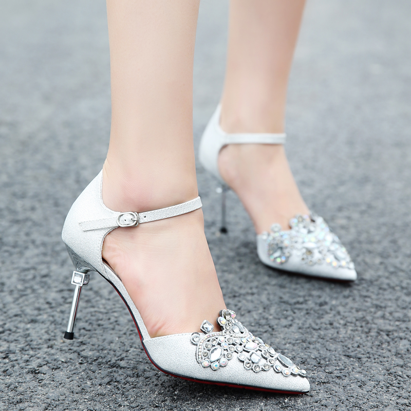 Crystal shoes, Cinderella high heels, adult Princess Wedding, fine and light shoes, sexy diamond, pointed silver shoes