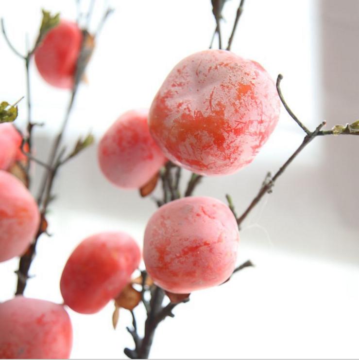仿真花饰原产地发货干枝柿子果子仿真花玫瑰出口家居装饰婚庆假花