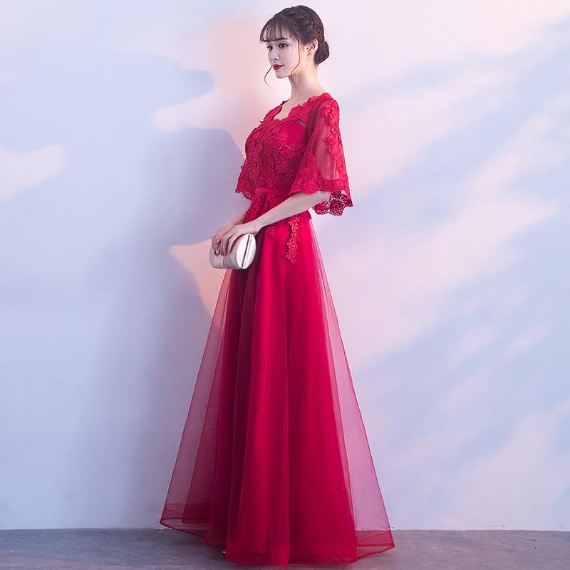 新娘敬酒服2017新款冬季蕾丝长款修身显瘦高腰孕妇结婚晚礼服裙女