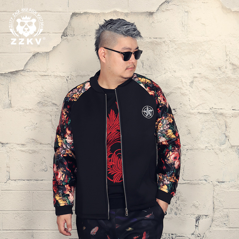 Fat star, big size, men's clothing plus fat, flowers, PU stitching, young handsome Baseball Jacket, men's jacket