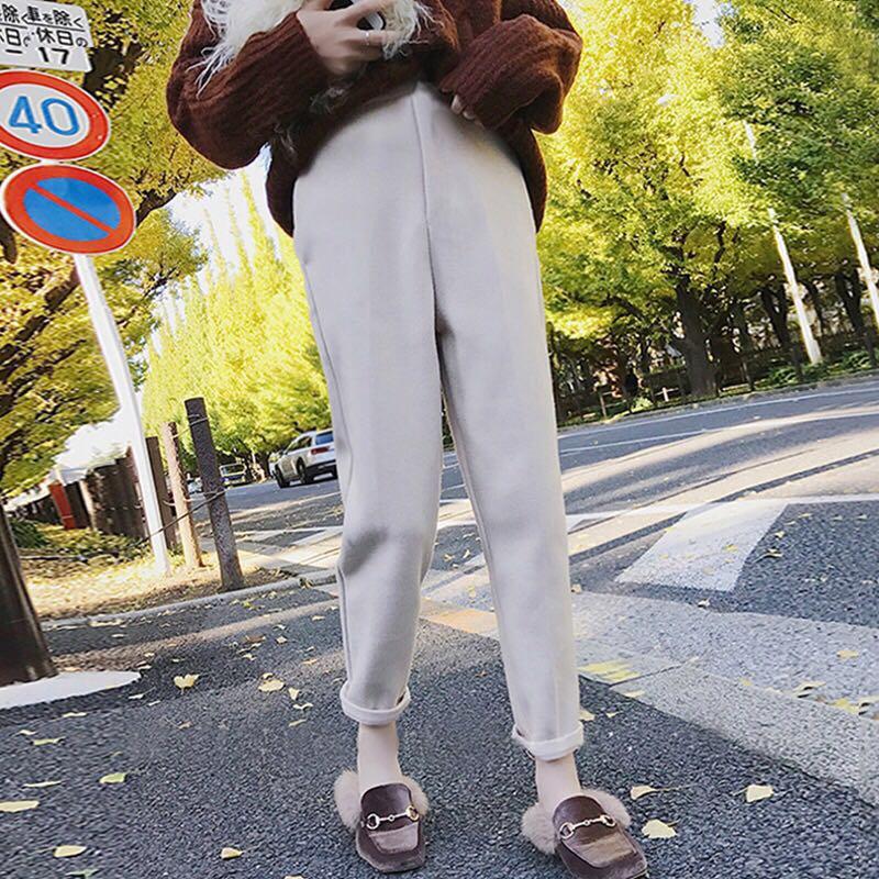 毛呢哈伦裤女冬季加厚高腰小脚裤韩版宽松呢子九分裤萝卜长裤