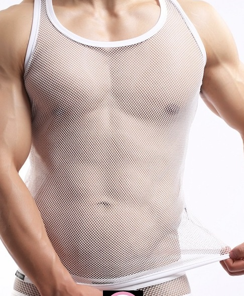 Woheng summer youth men's pure acrylic knitted openwork large mesh sexy lingerie perspective sexy vest
