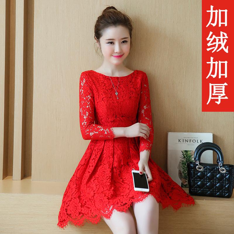 红色蕾丝裙 连衣裙