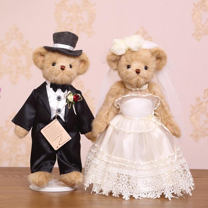 压床娃娃一对泰迪熊小熊结婚礼物毛绒玩具情侣婚纱正品婚车公仔