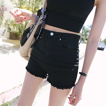 Black denim shorts female summer 2018 new Korean high waist student loose thin stretch elastic wild hot pants
